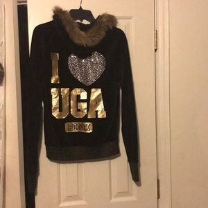 UGA Victoria's Secret PINK black hoodie jacket